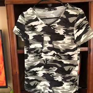 From shein cute camo top size juniors medium